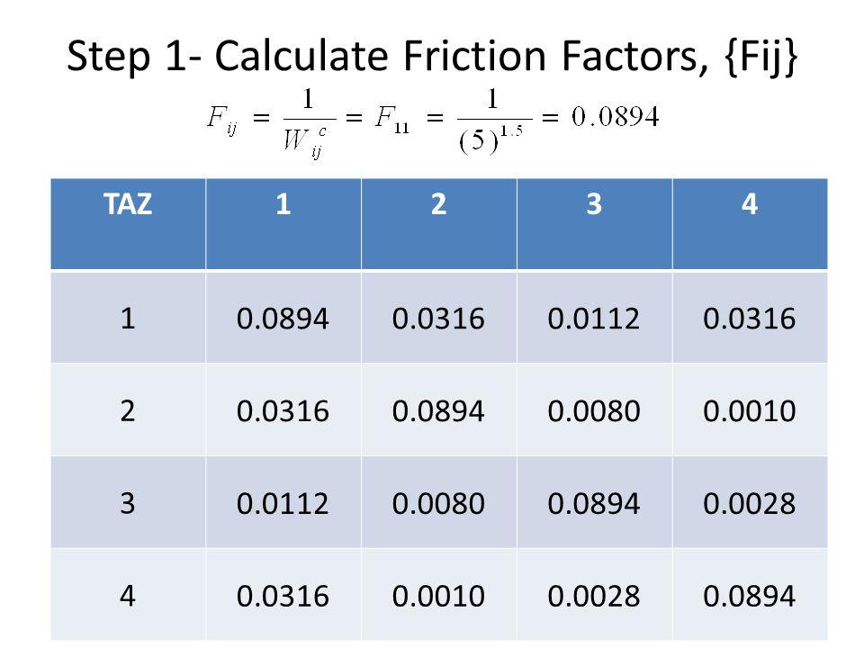Step 1- Calculate Friction Factors, {Fij}