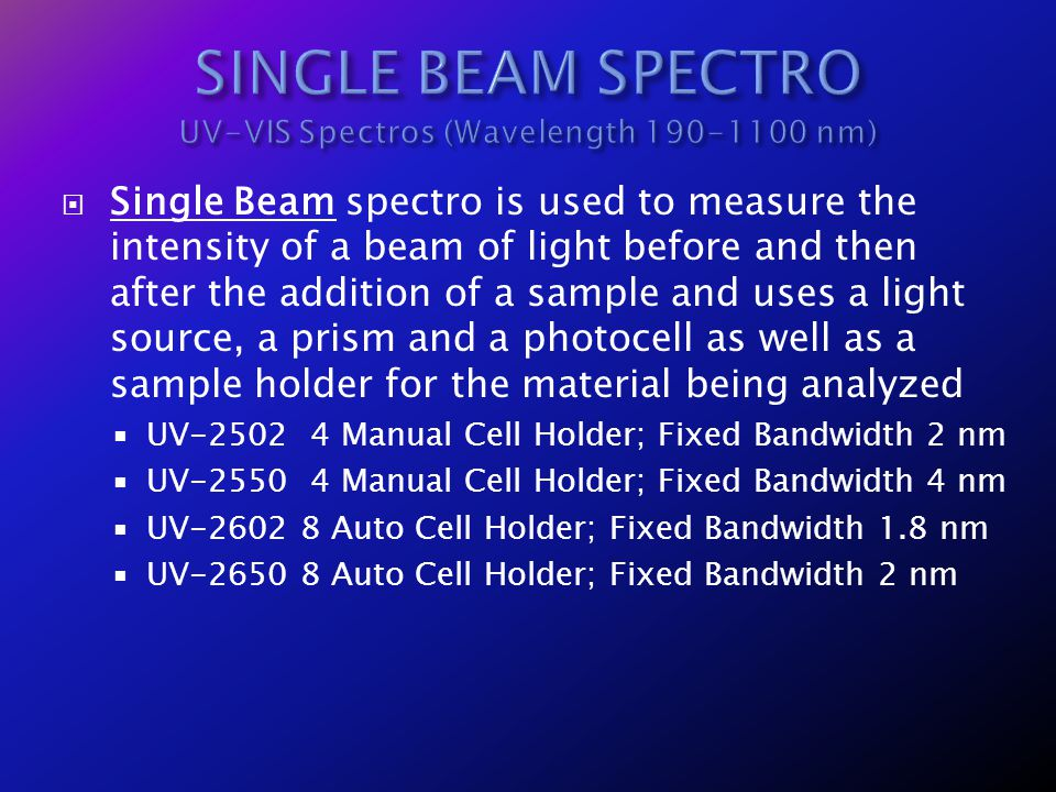SINGLE BEAM SPECTRO UV-VIS Spectros (Wavelength 190-1100 nm)