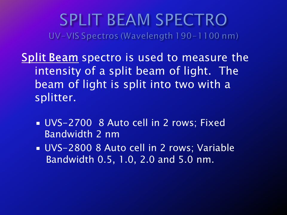 SPLIT BEAM SPECTRO UV-VIS Spectros (Wavelength 190-1100 nm)