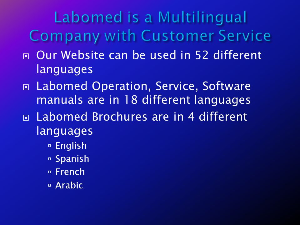 Labomed is a Multilingual Company with Customer Service