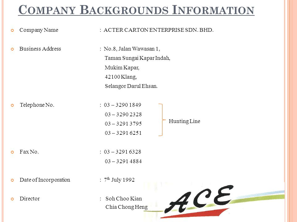 Company Backgrounds Information