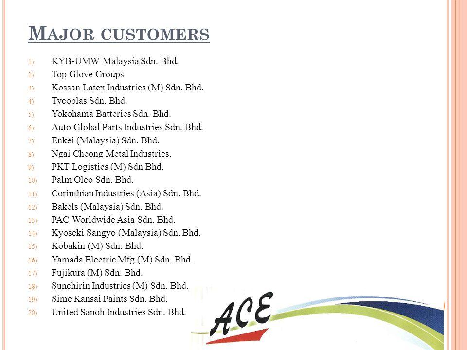 Major customers KYB-UMW Malaysia Sdn. Bhd. Top Glove Groups
