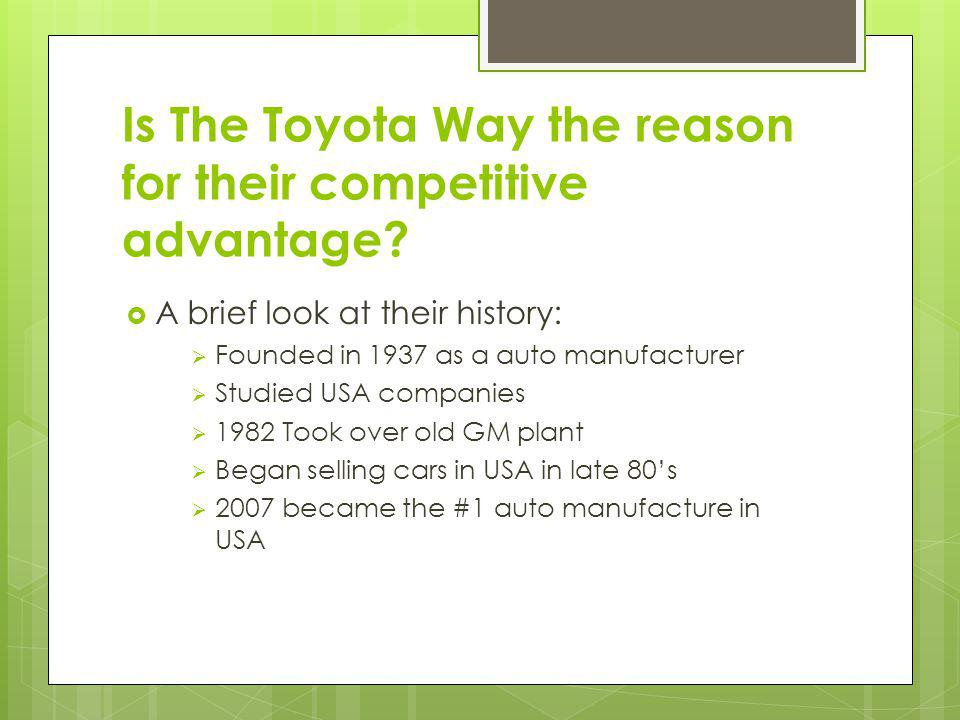 Is The Toyota Way the reason for their competitive advantage