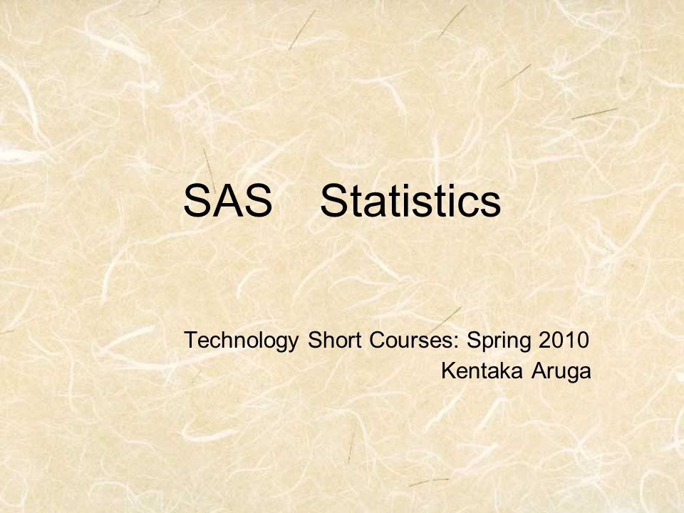 Technology Short Courses: Spring 2010 Kentaka Aruga
