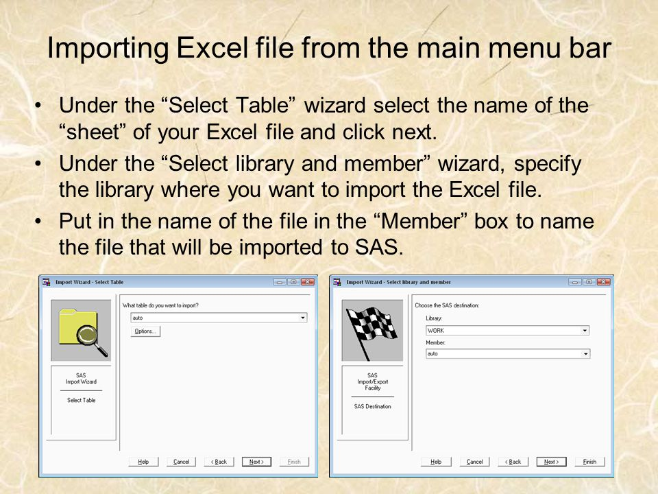 Importing Excel file from the main menu bar
