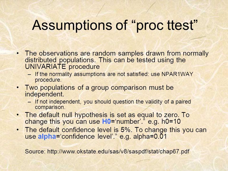 Assumptions of proc ttest