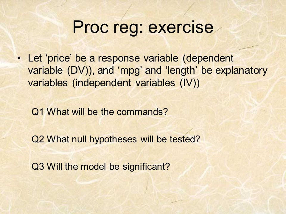 Proc reg: exercise