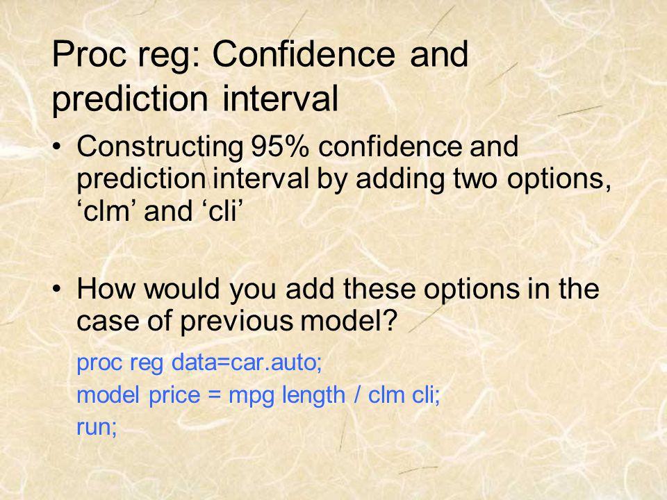 Proc reg: Confidence and prediction interval