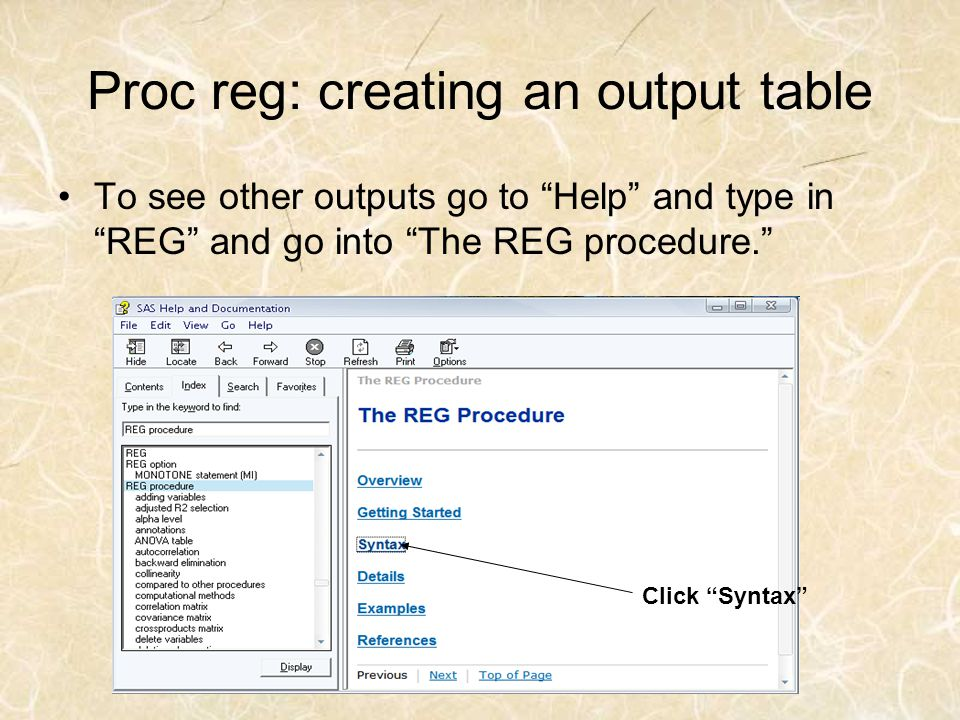Proc reg: creating an output table