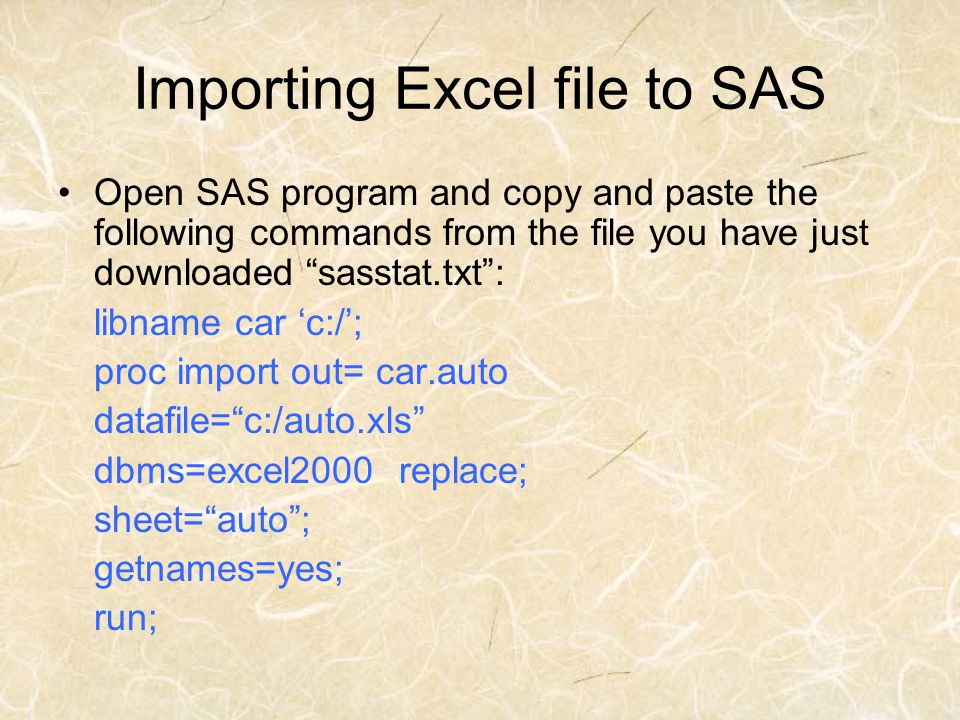 Importing Excel file to SAS