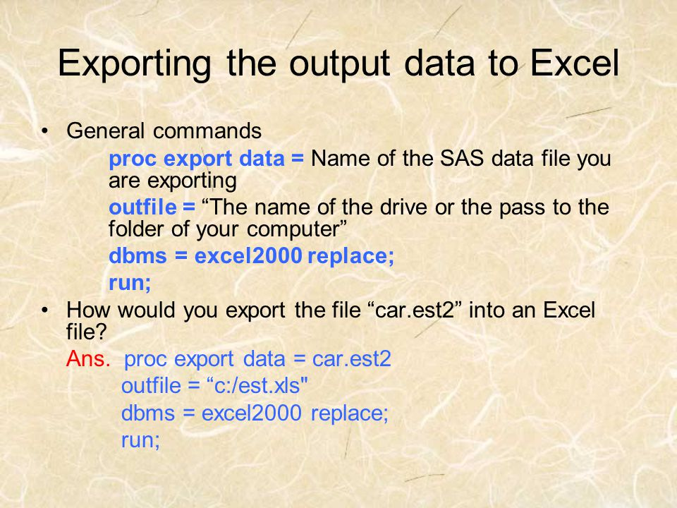Exporting the output data to Excel
