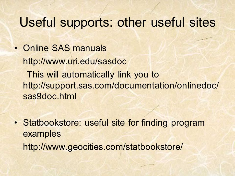 Useful supports: other useful sites