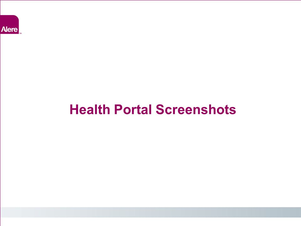 Health Portal Screenshots