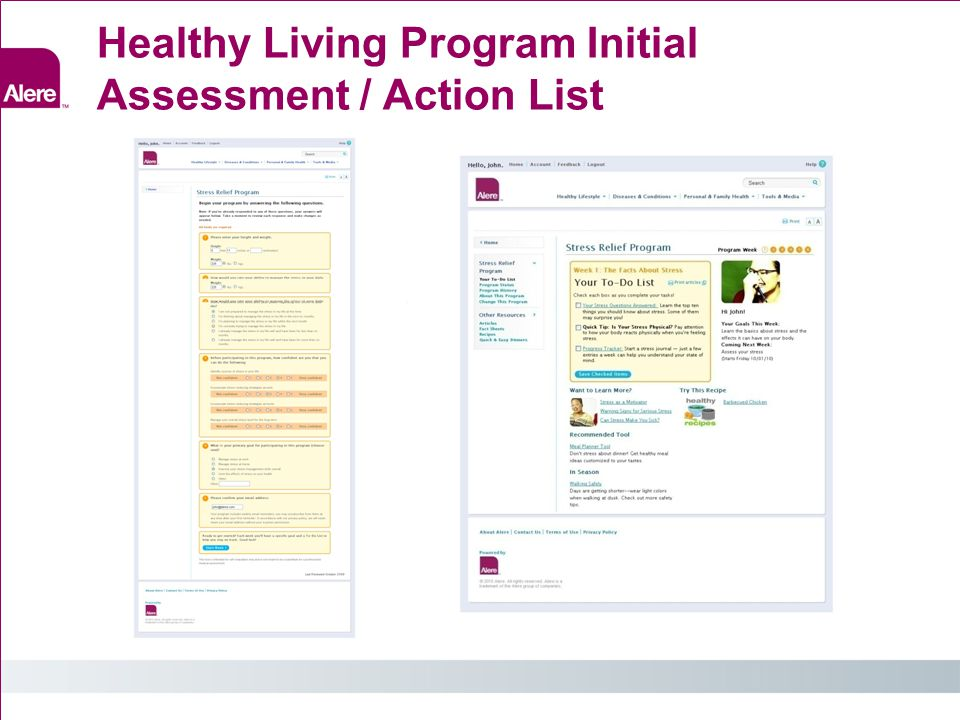 Healthy Living Program Initial Assessment / Action List