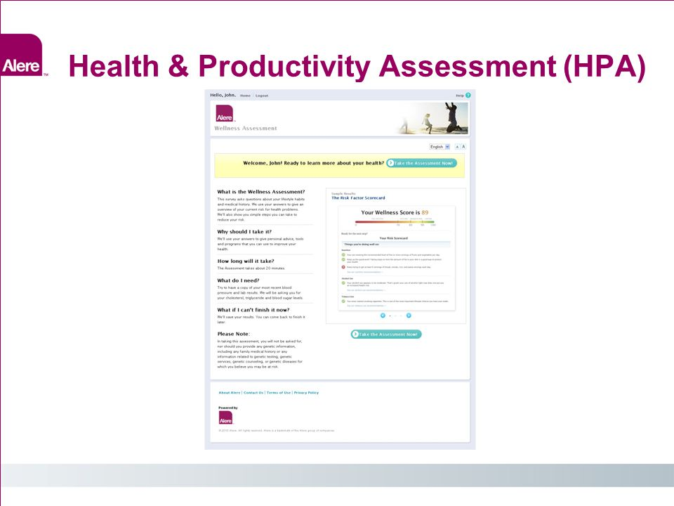 Health & Productivity Assessment (HPA)