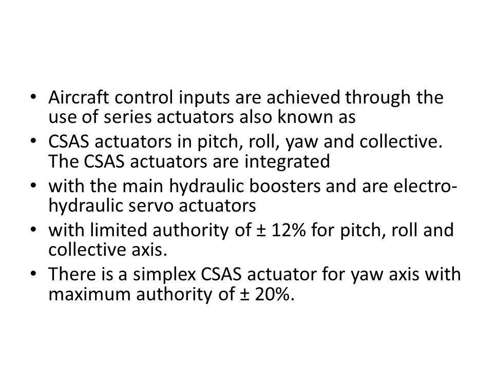 Aircraft control inputs are achieved through the use of series actuators also known as