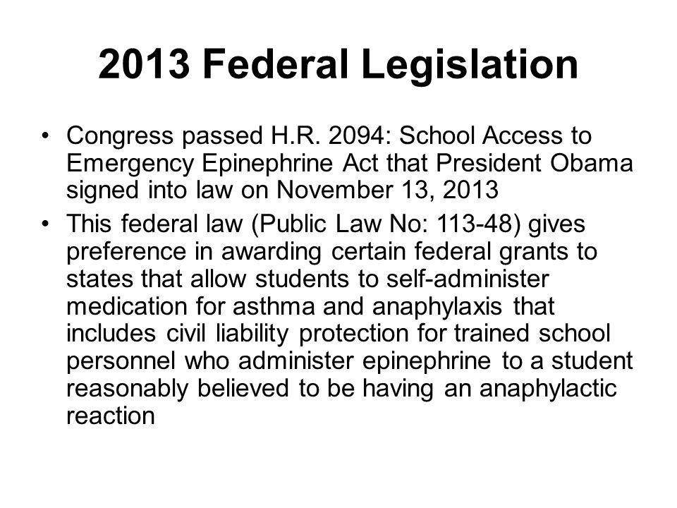 2013 Federal Legislation