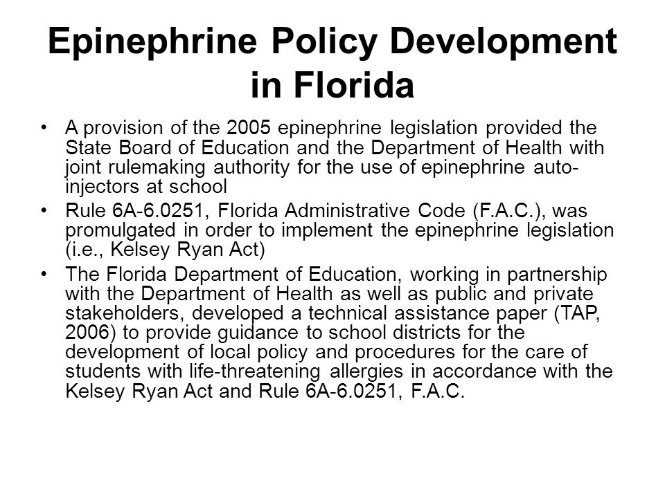 Epinephrine Policy Development in Florida