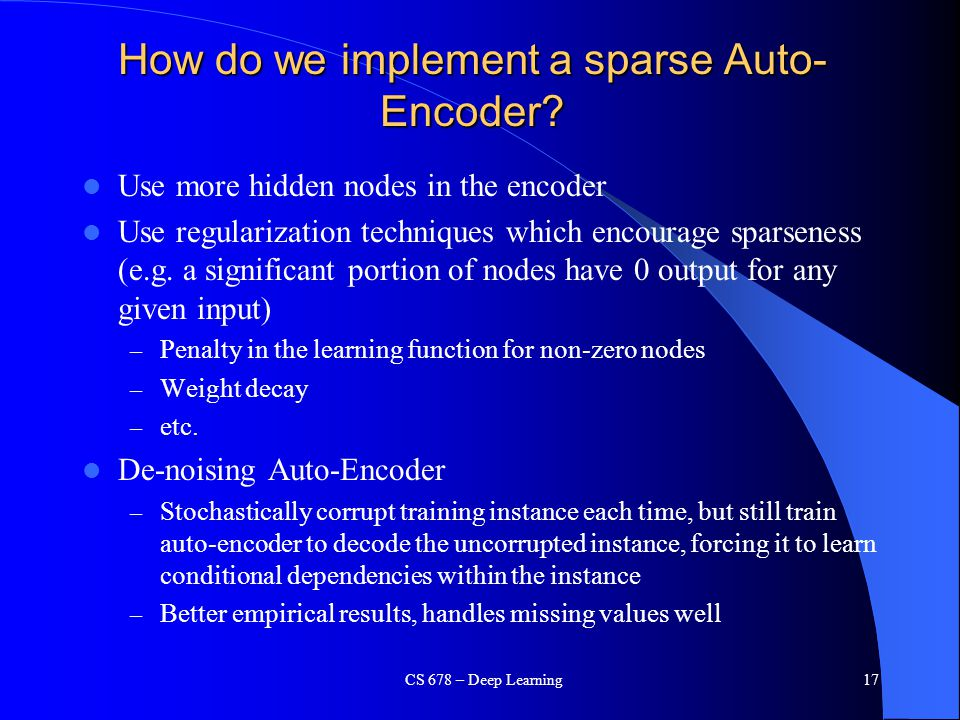 How do we implement a sparse Auto-Encoder