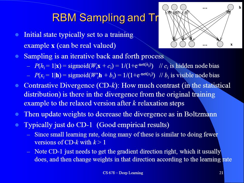 RBM Sampling and Training
