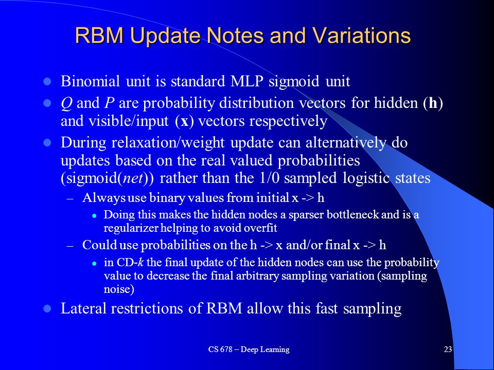 RBM Update Notes and Variations