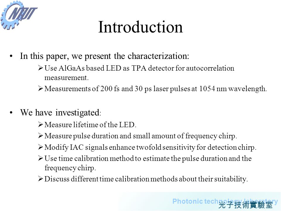Introduction In this paper, we present the characterization: