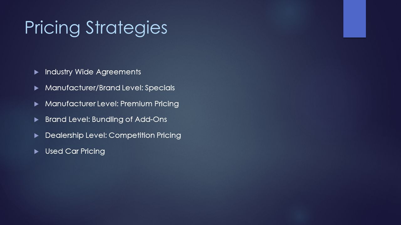 Pricing Strategies Industry Wide Agreements