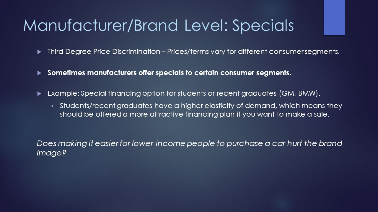 Manufacturer/Brand Level: Specials