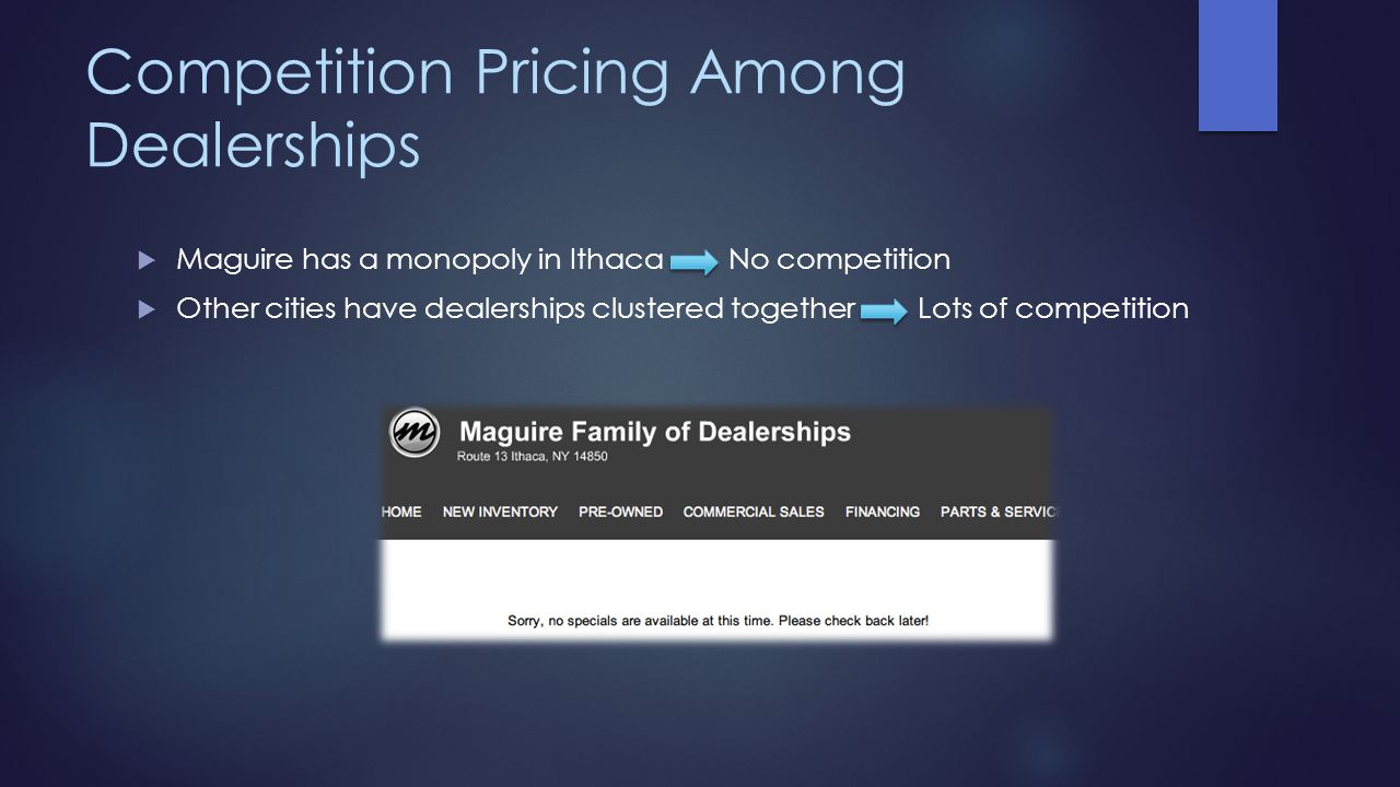 Competition Pricing Among Dealerships