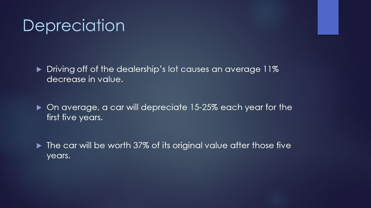 Depreciation Driving off of the dealership's lot causes an average 11% decrease in value.