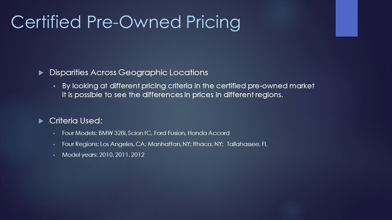 Certified Pre-Owned Pricing