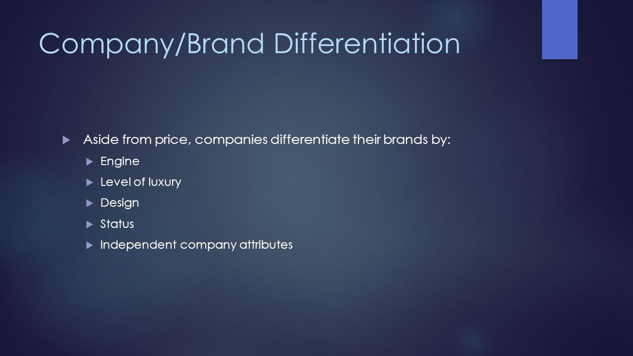 Company/Brand Differentiation