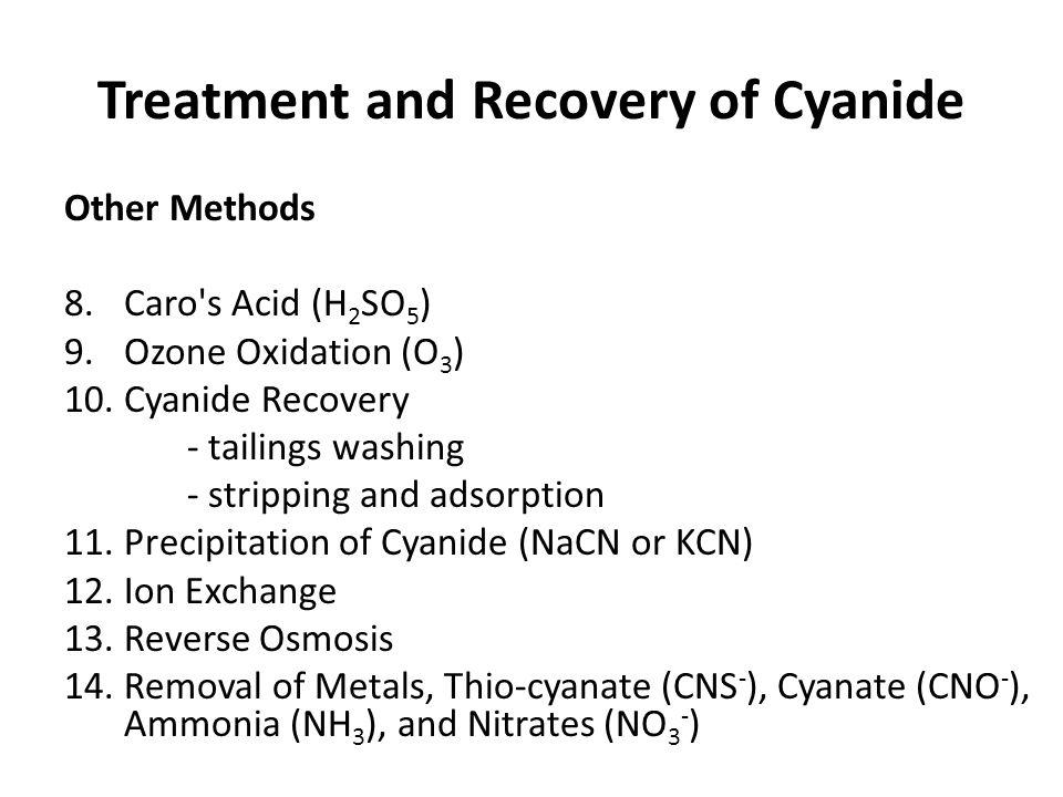 Treatment and Recovery of Cyanide