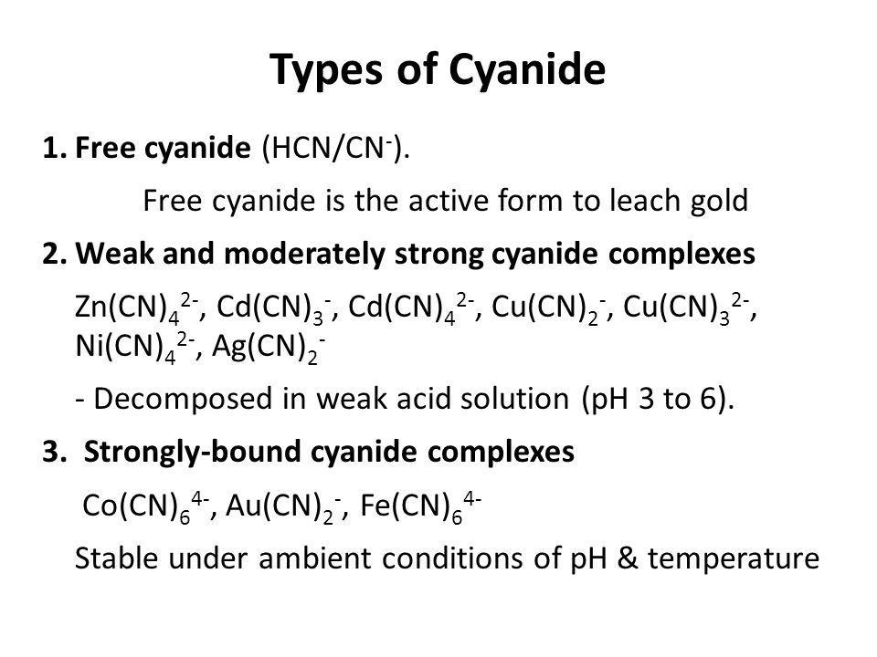 Types of Cyanide 1. Free cyanide (HCN/CN-).