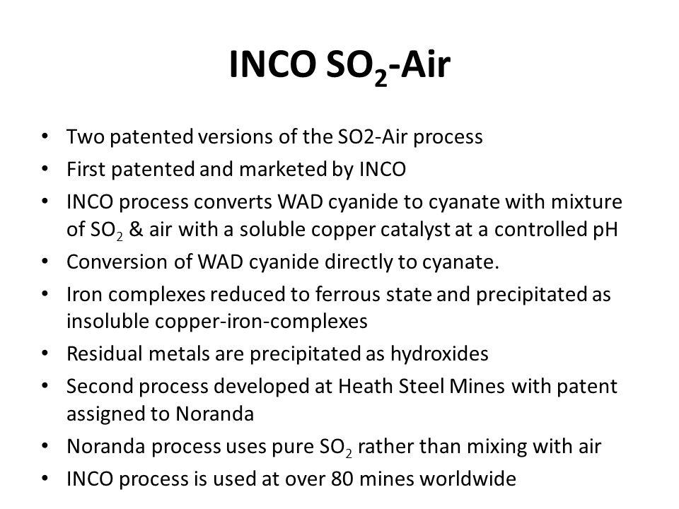 INCO SO2-Air Two patented versions of the SO2-Air process