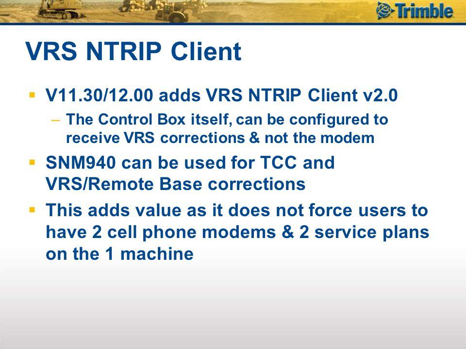 VRS NTRIP Client V11.30/12.00 adds VRS NTRIP Client v2.0