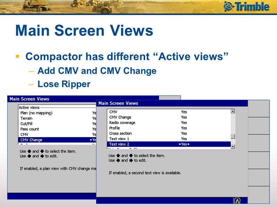Main Screen Views Compactor has different Active views