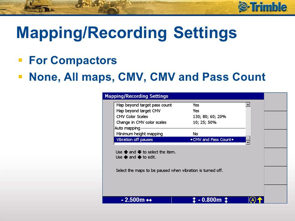 Mapping/Recording Settings