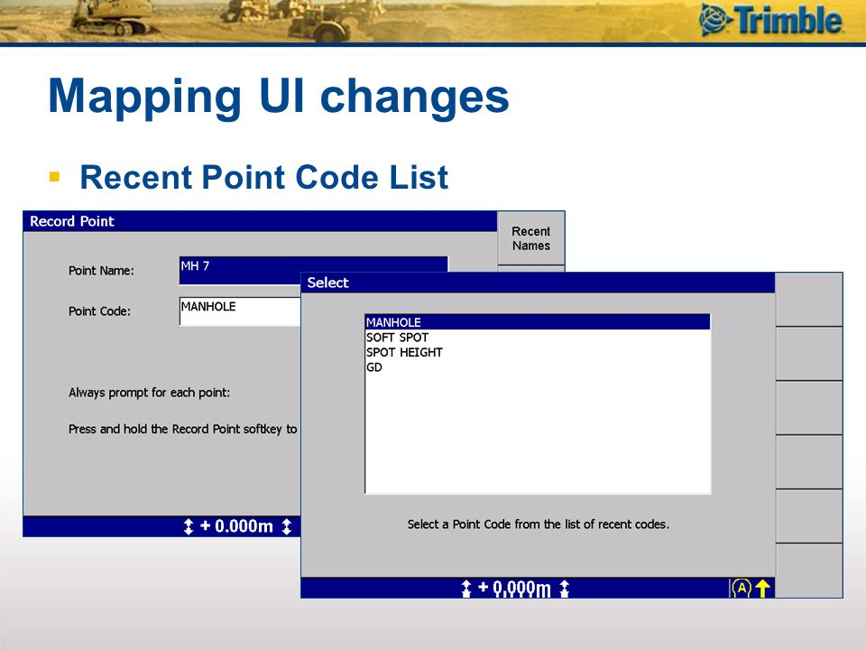 Mapping UI changes Recent Point Code List