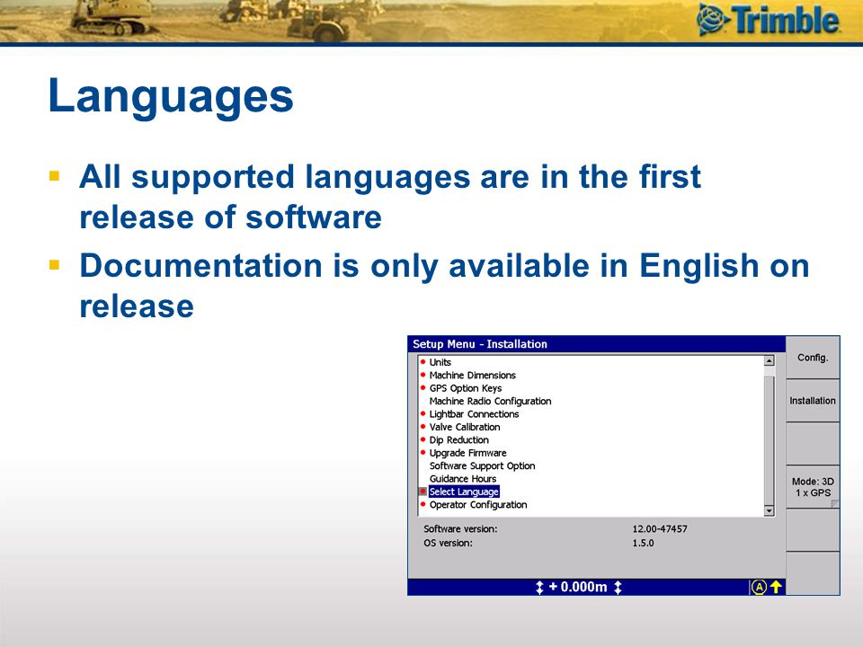 Languages All supported languages are in the first release of software
