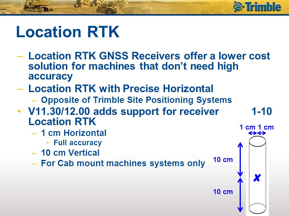 Location RTK Location RTK GNSS Receivers offer a lower cost solution for machines that don't need high accuracy.