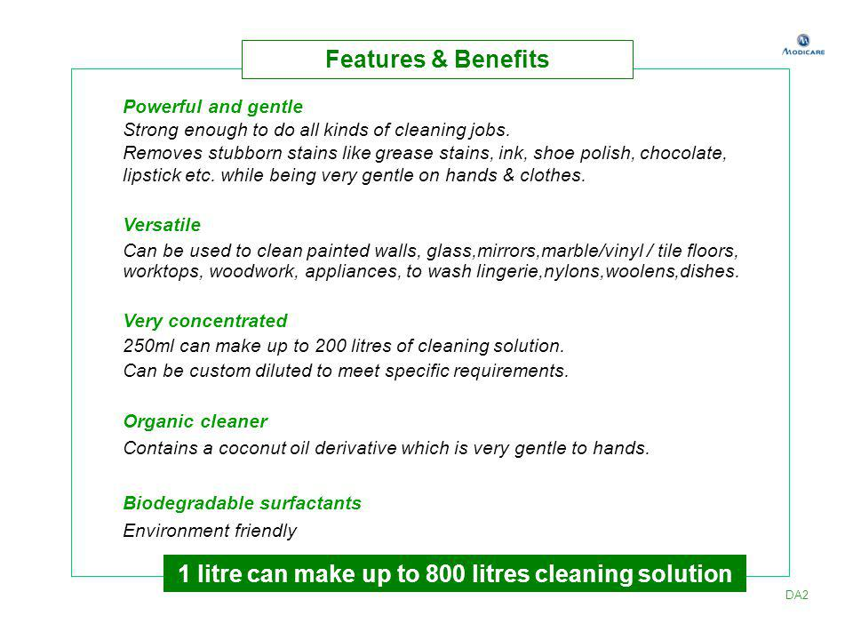 1 litre can make up to 800 litres cleaning solution