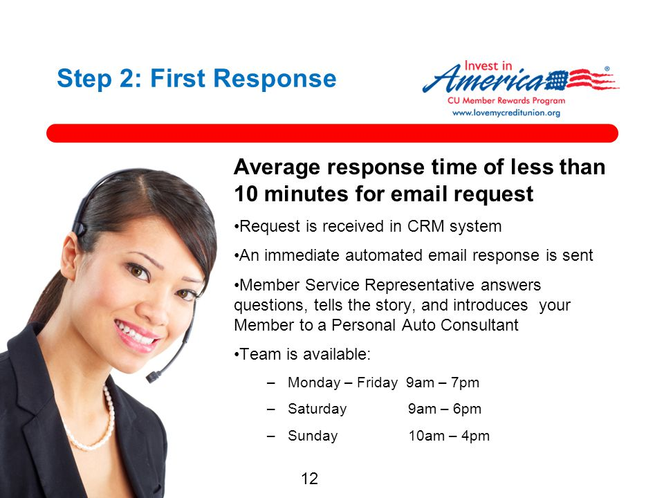 Step 2: First Response Average response time of less than 10 minutes for email request. Request is received in CRM system.