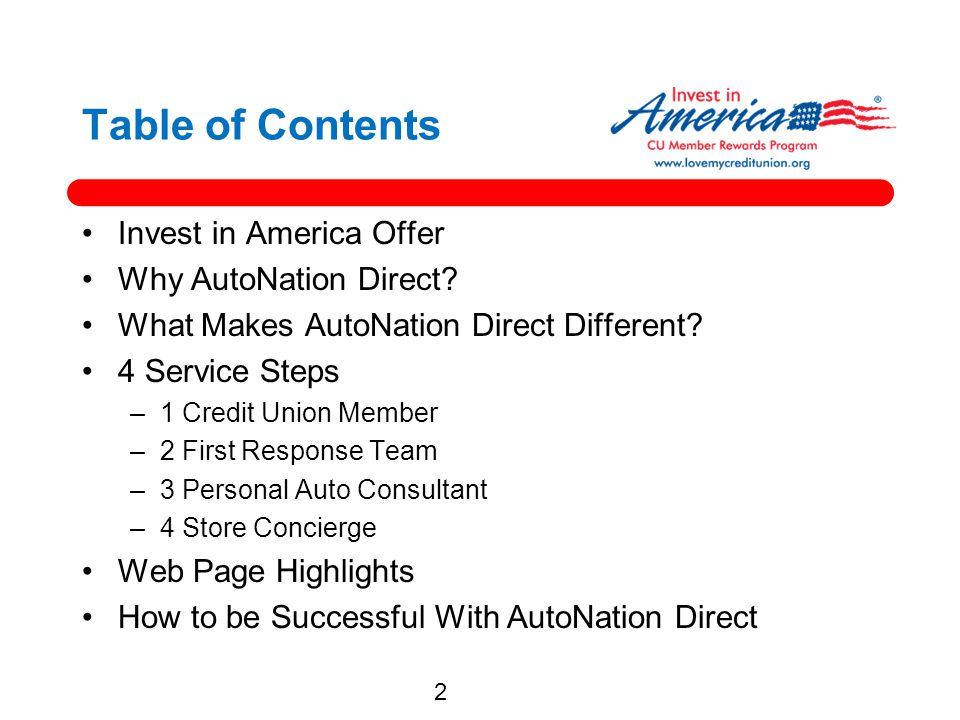 Table of Contents Invest in America Offer Why AutoNation Direct