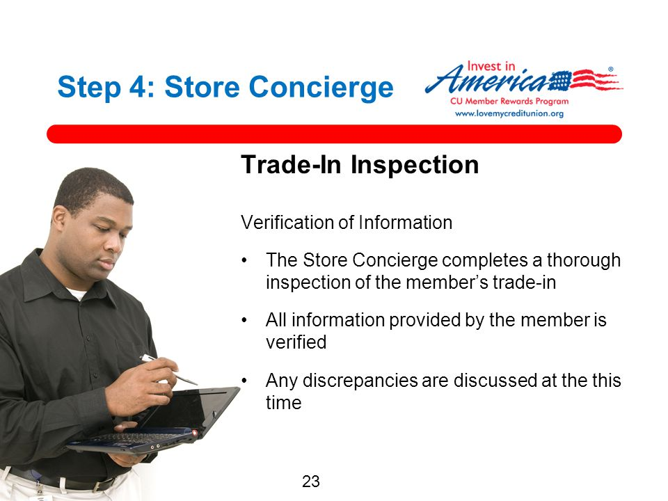 Step 4: Store Concierge Trade-In Inspection