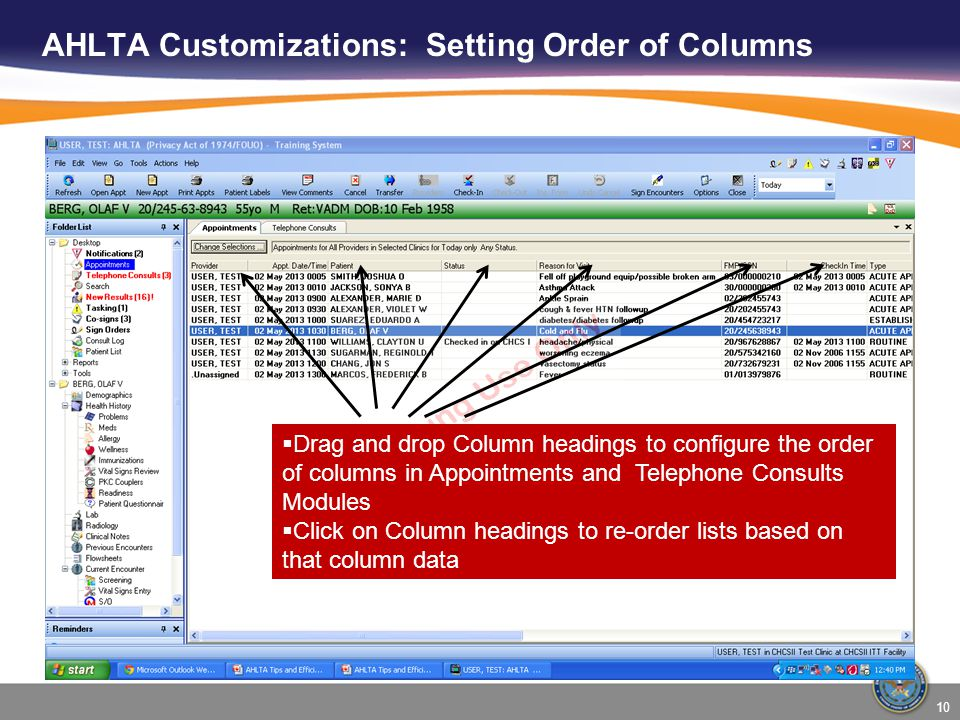 AHLTA Customizations: Setting Order of Columns