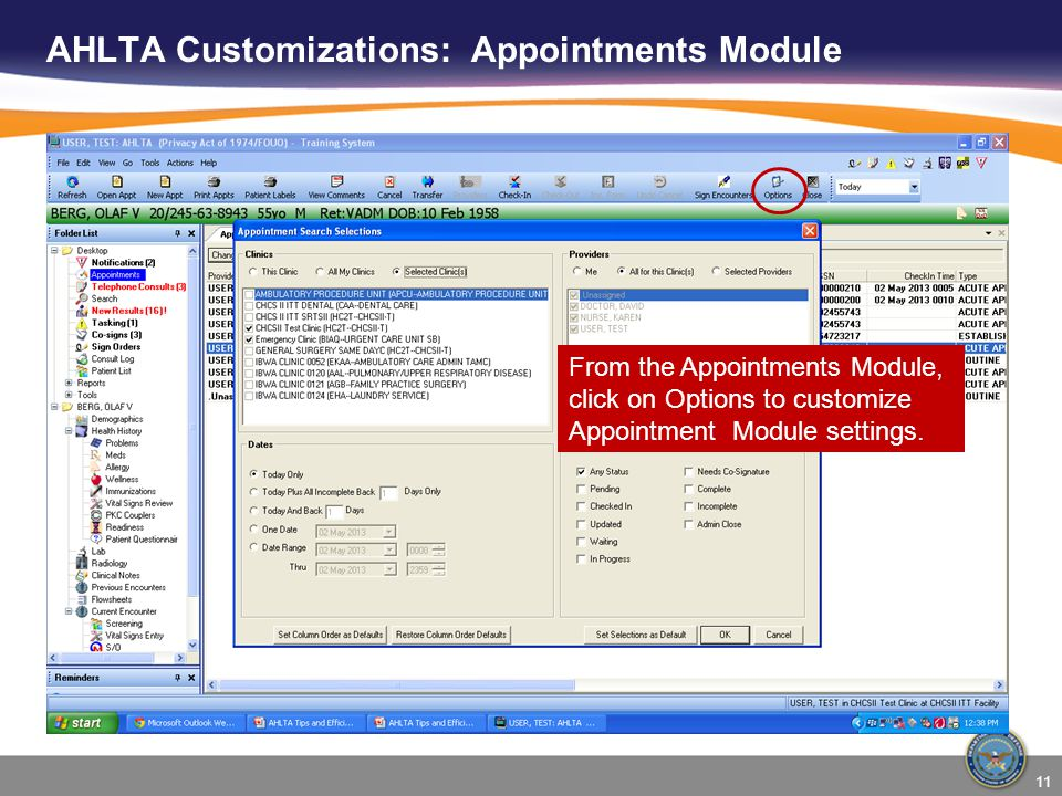 AHLTA Customizations: Appointments Module