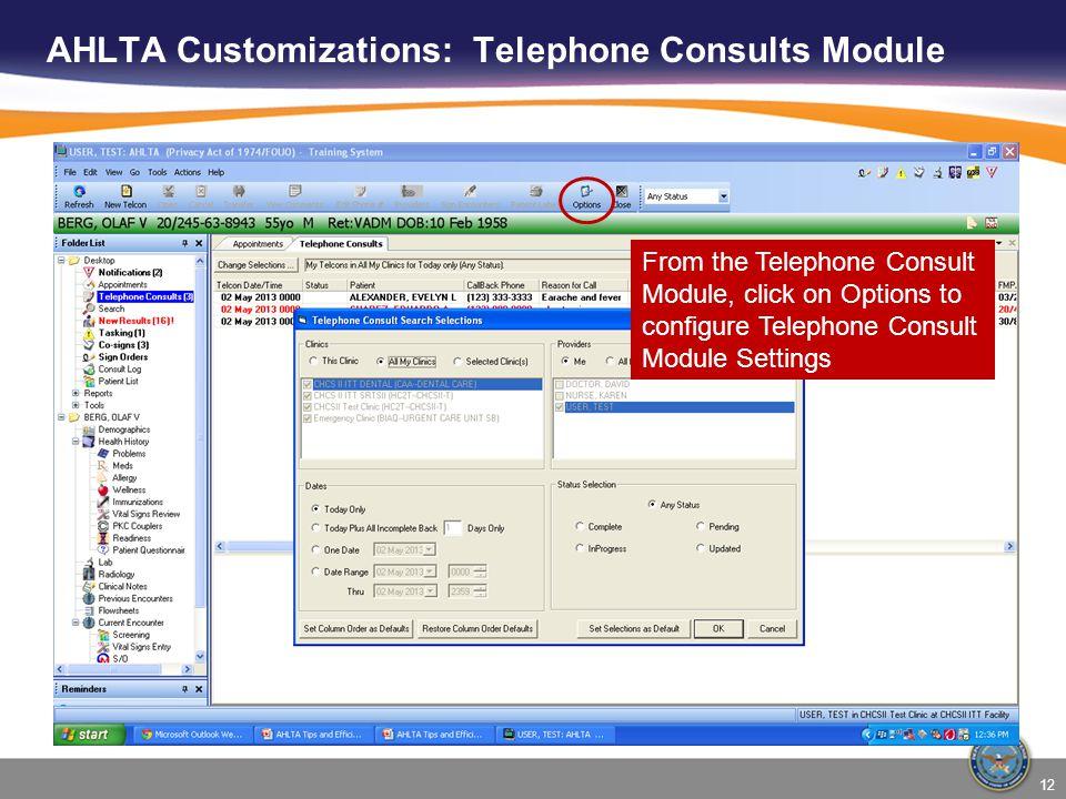 AHLTA Customizations: Telephone Consults Module