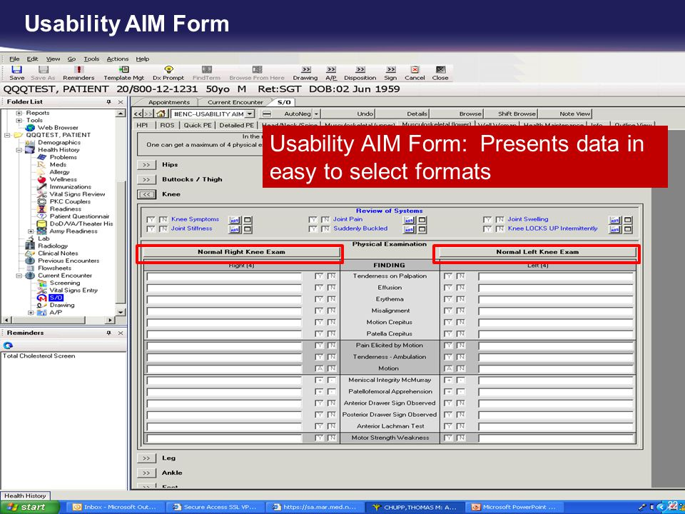 Usability AIM Form Usability AIM Form: Presents data in easy to select formats