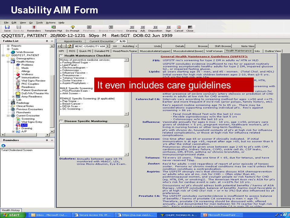 Usability AIM Form It even includes care guidelines